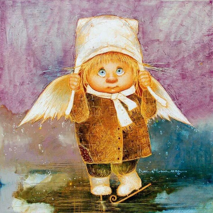 Рисунки смешных ангелочков, открытка танком