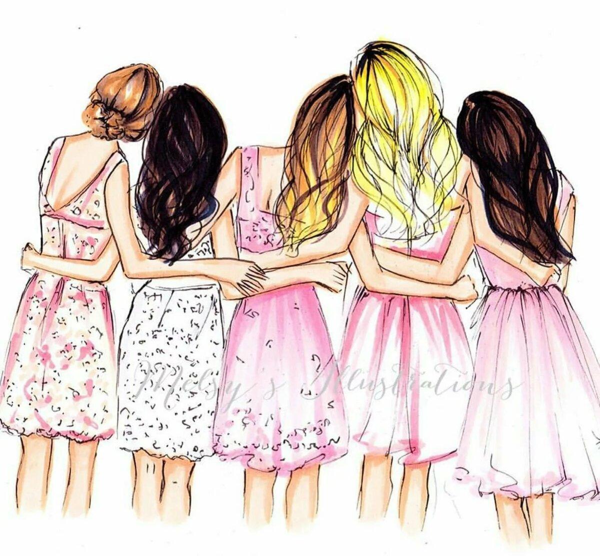 Картинки для девочек лучшие подружки, открыток