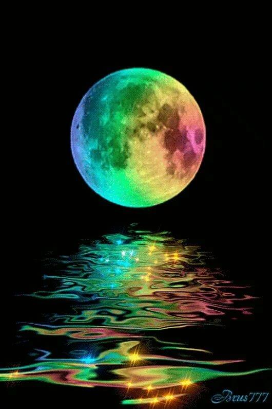 Открытки, анимация открытка луна