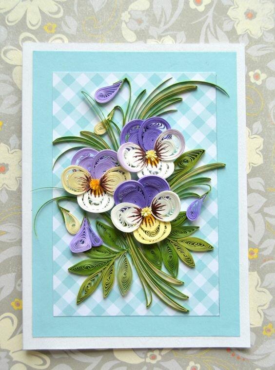 Днем, открытка цветы из квиллинга