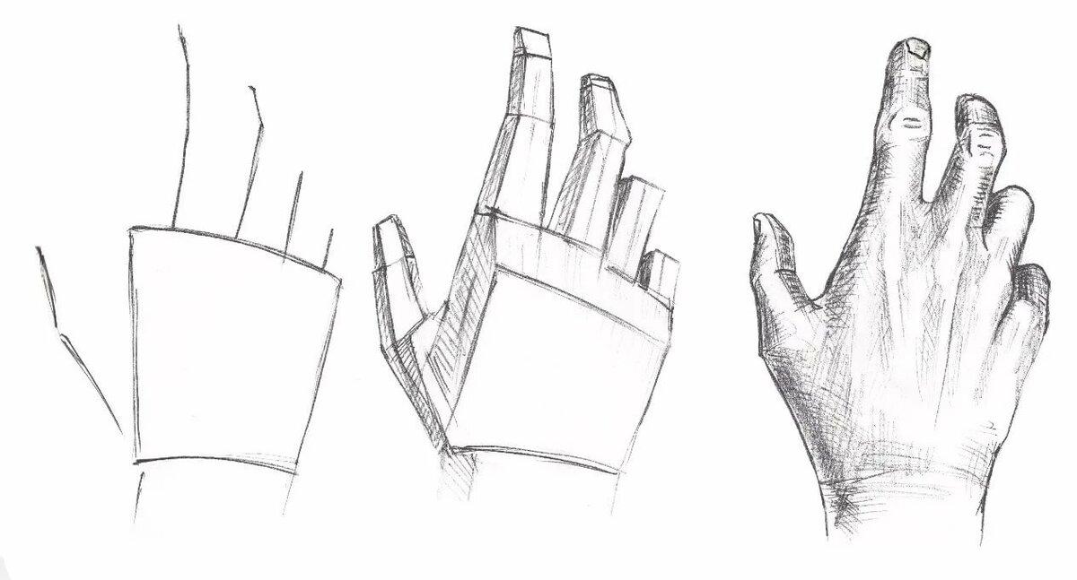 Рисунки руки карандашом поэтапно