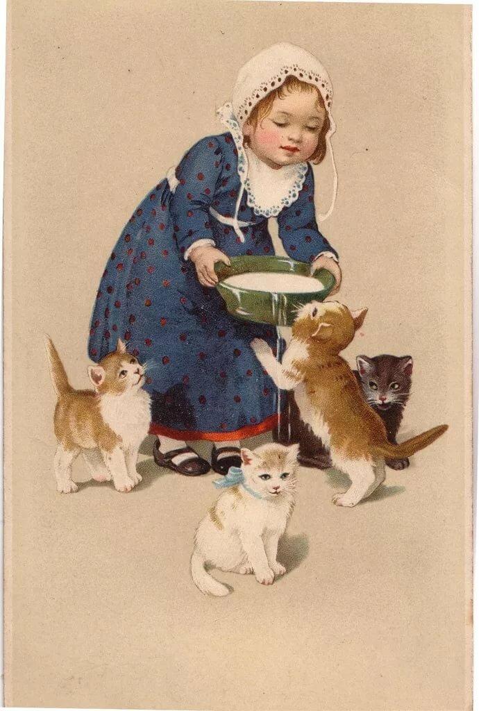 Старинные открытки с детьми и животными
