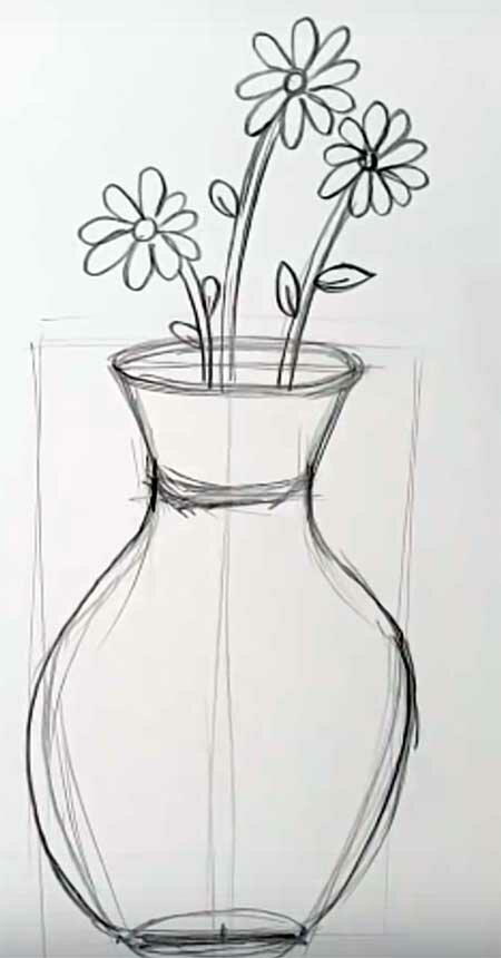 ваза с цветами рисунки простым карандашом создаем