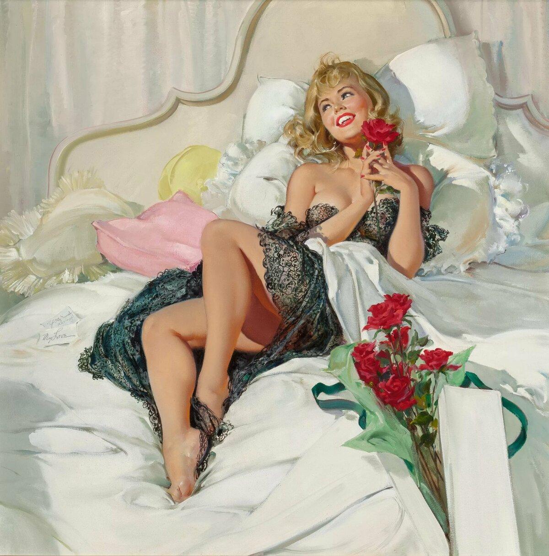 Девушки в постели ретро — 10