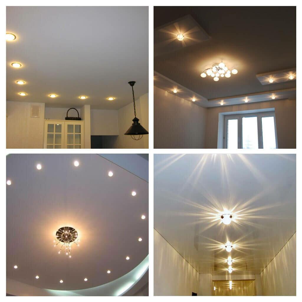 Размещение лампочек на натяжном потолке фото