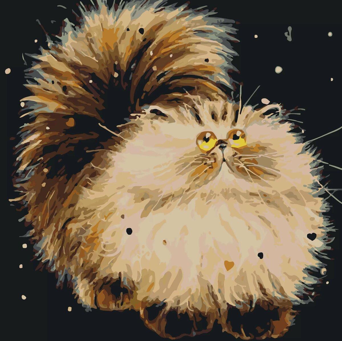 Рисунок смешного кота пушистого, прошу прощения