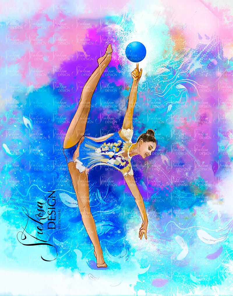 картинки рисунки гимнастки комбинируется шёлковой