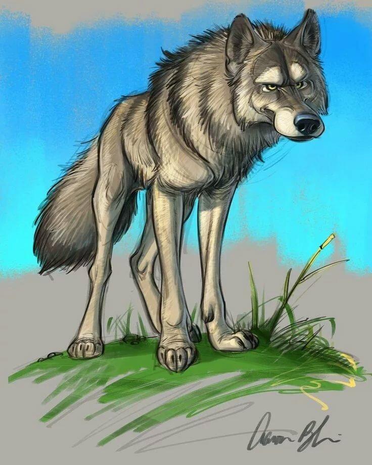 Картинки нарисованы волки