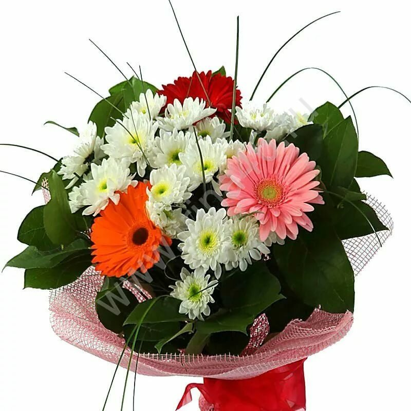 Букеты с герберами и хризантемами