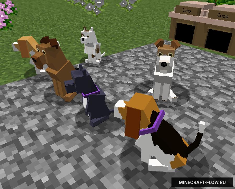 Мод на майнкрафт на 27 пород собак