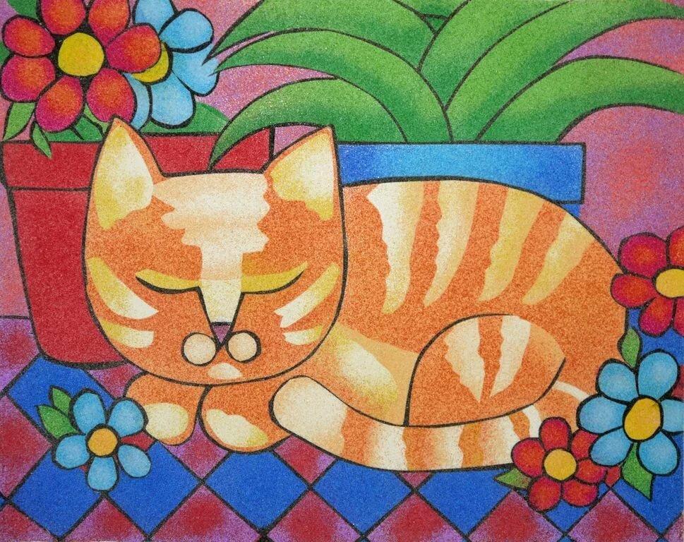 рисуем разноцветным песком картинки