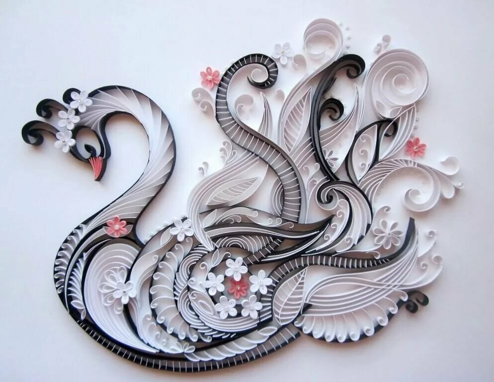 Объемные лебеди на открытку