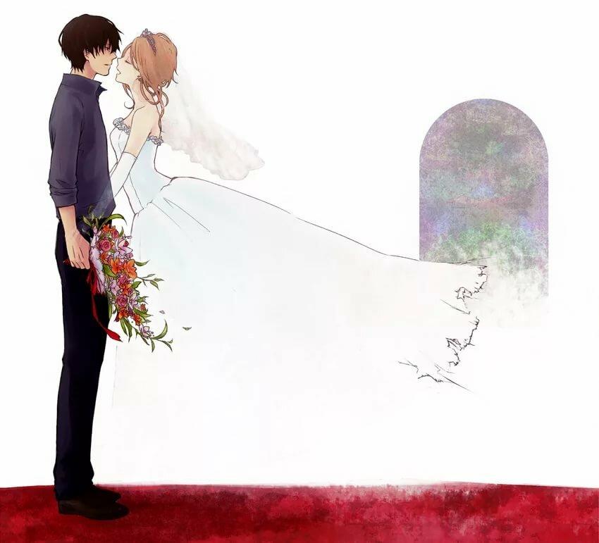 Открытки аниме свадебные