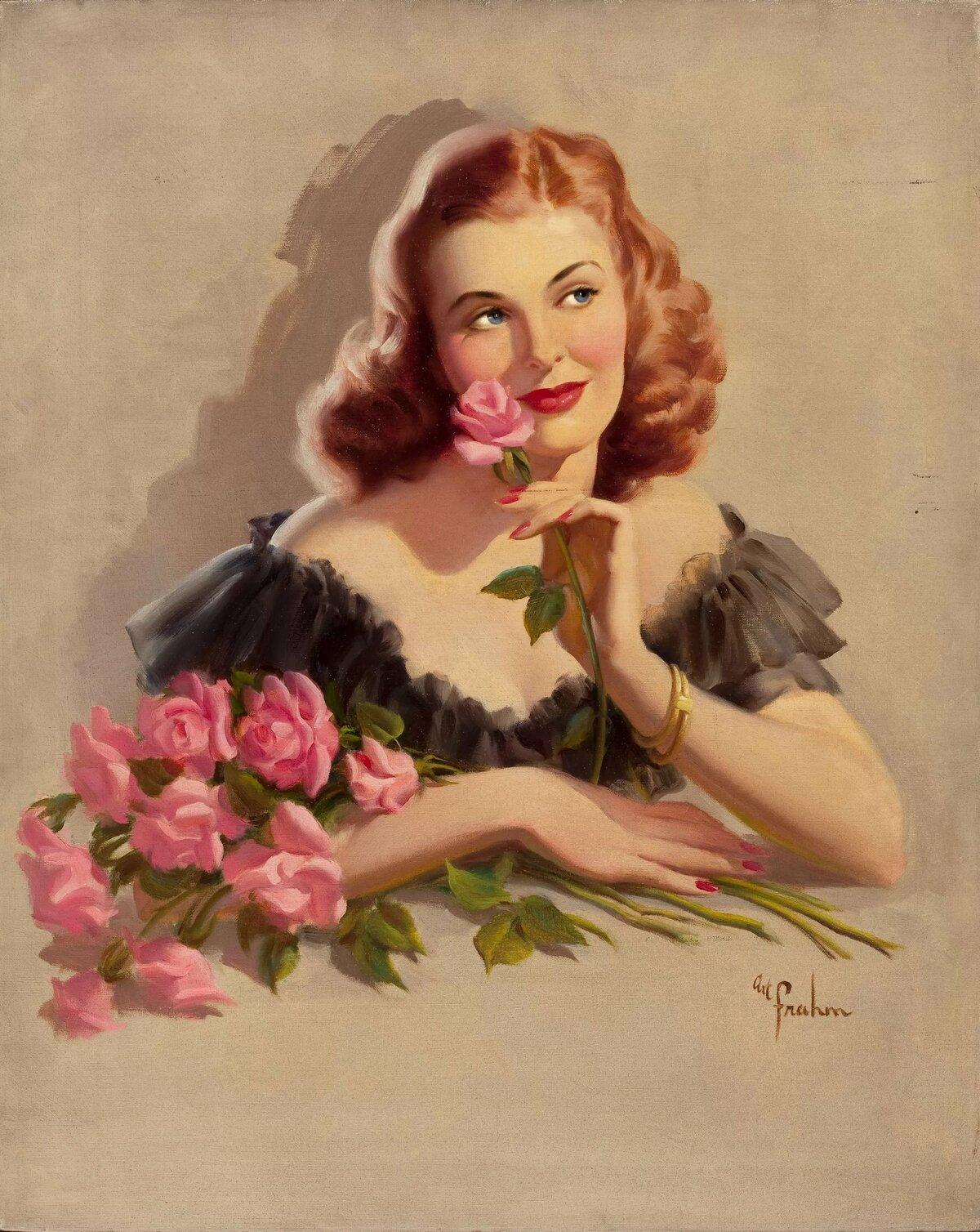 Женщины на ретро открытках