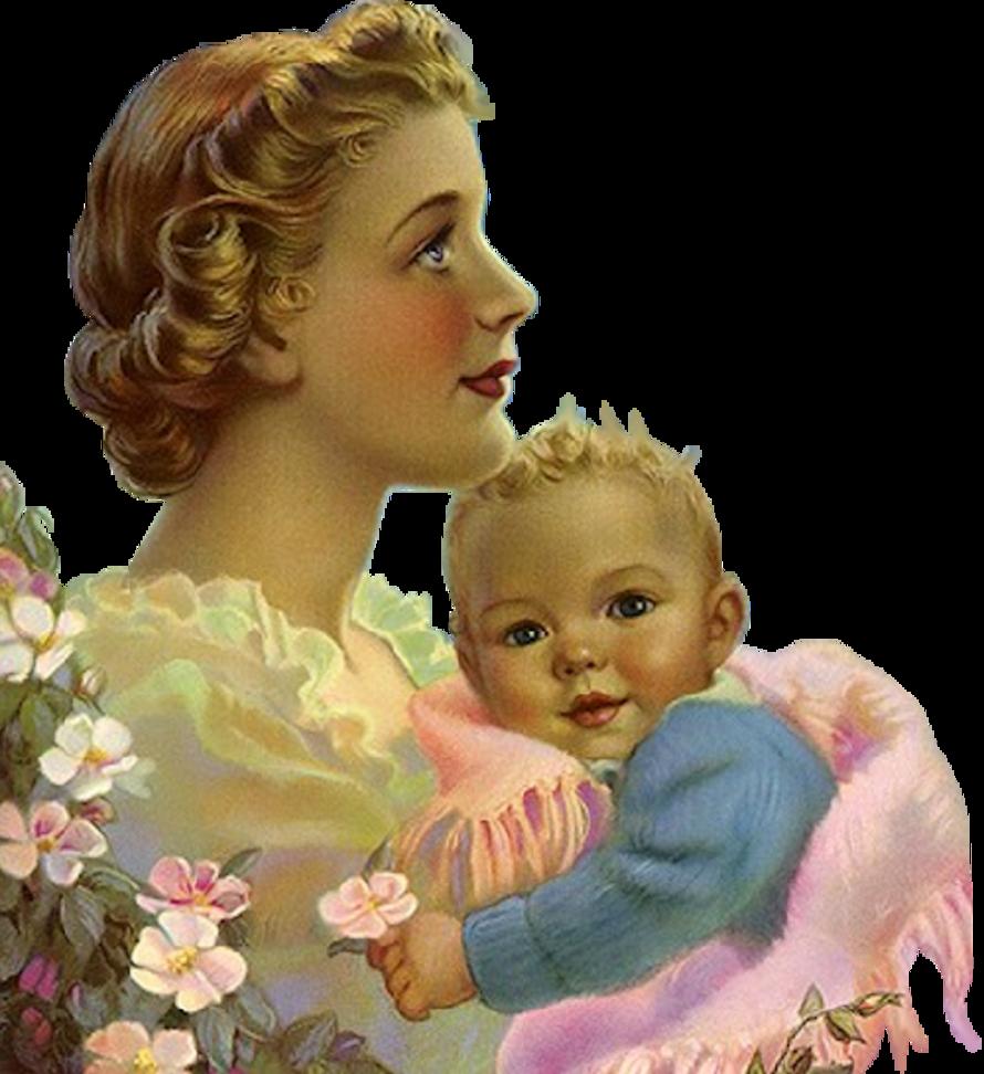 Женщина с ребенком открытка