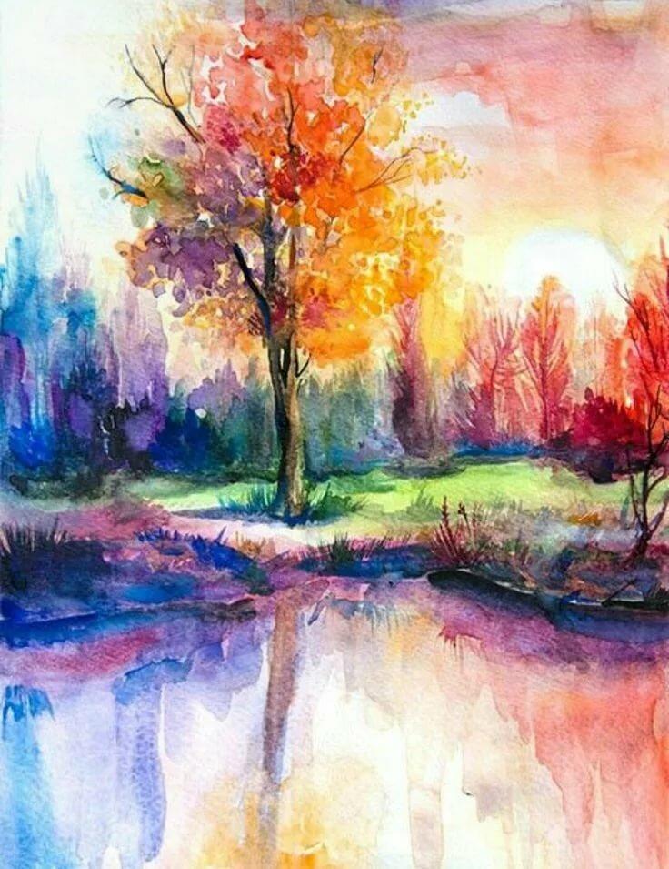 Природа акварелью картинки легко и красиво