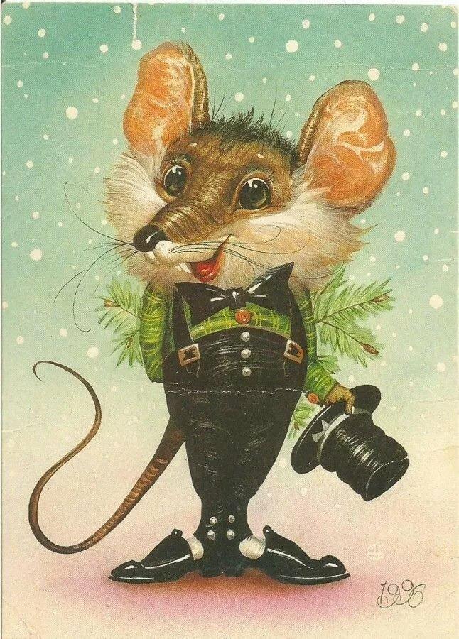 Старая открытка с новым годом крысы