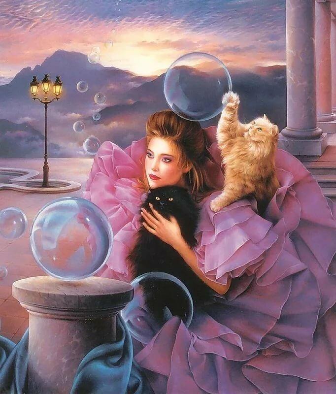 Картинки, картинки женщина с котом на крыше
