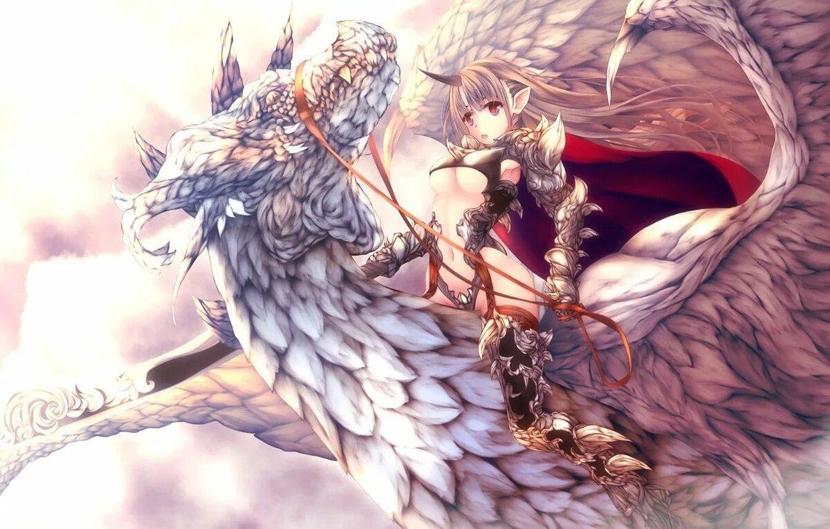Картинки аниме девушек на драконах