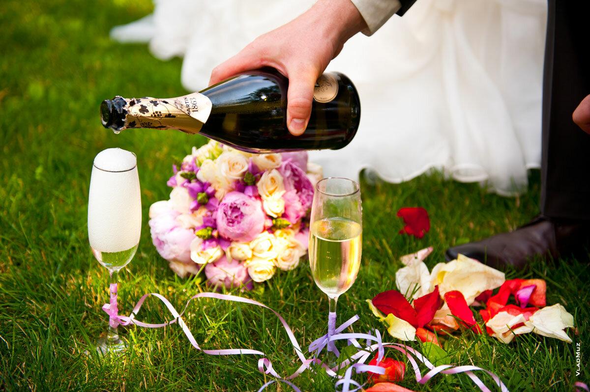 Открытки поздравления, картинки свадебные бокалы и шампанское