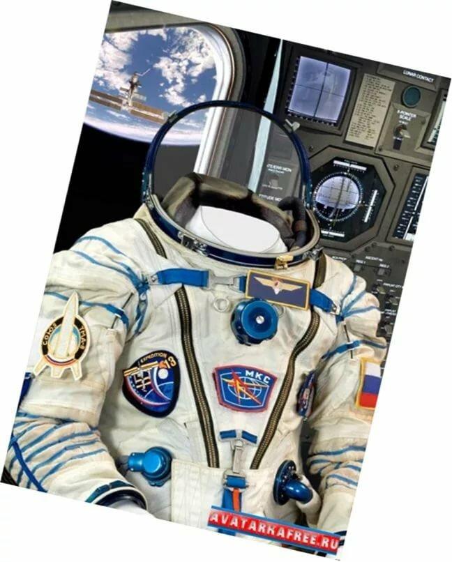 Вставить фото в костюм космонавта