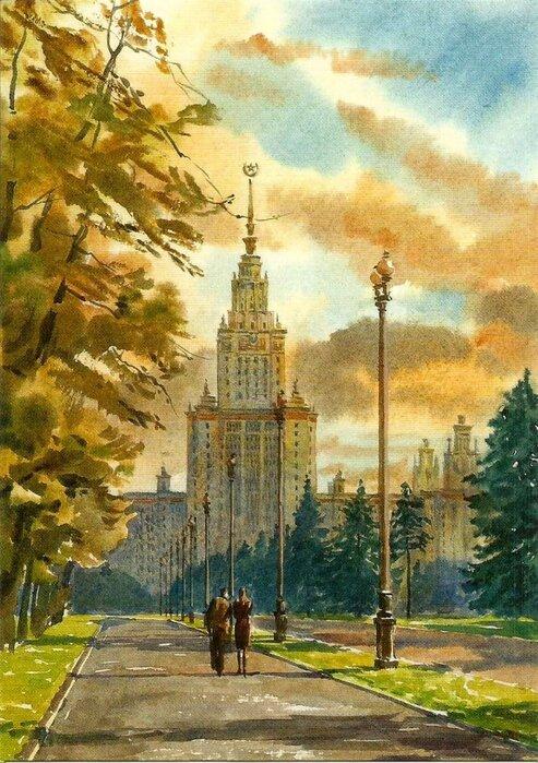Видовые открытки москвы