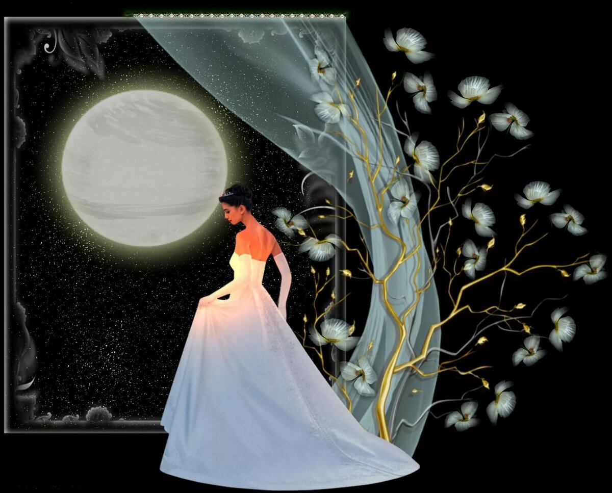 Бабочкой, открытки девушка на луне