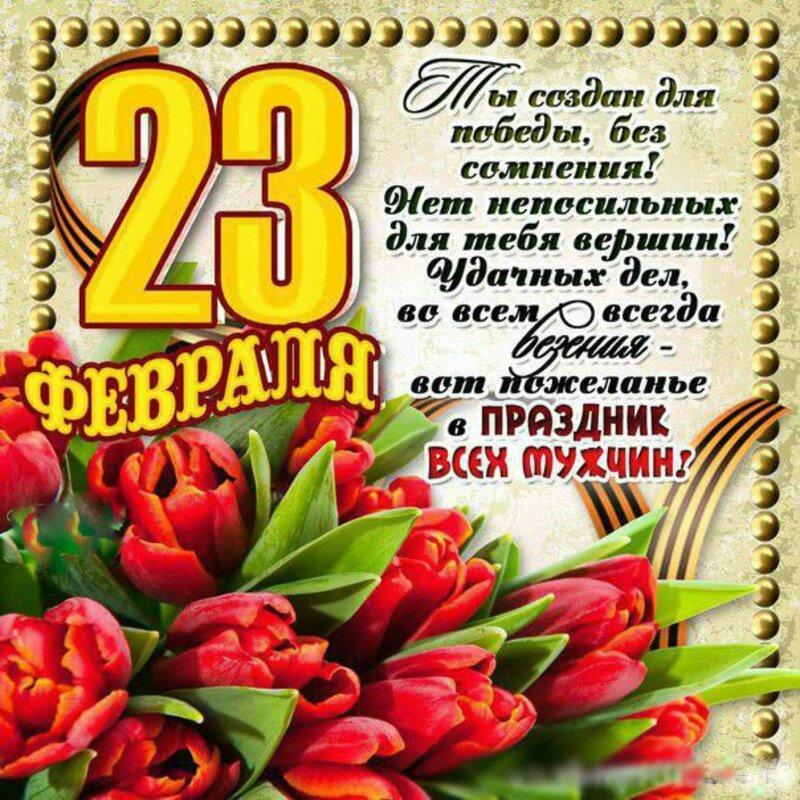 Поздравление 23 февраля на открытку, новым 2017 годом