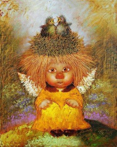 Коты и ангелы на картинах Галины Чувиляевой - Хвостатые байк