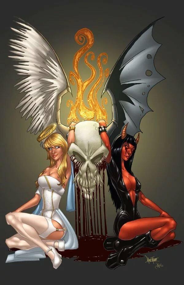 Прикольные картинки демона и ангела