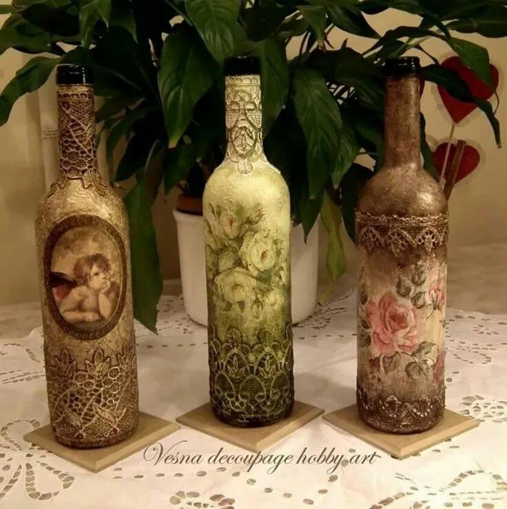 картинки декупаж бутылок и банок детей, чего