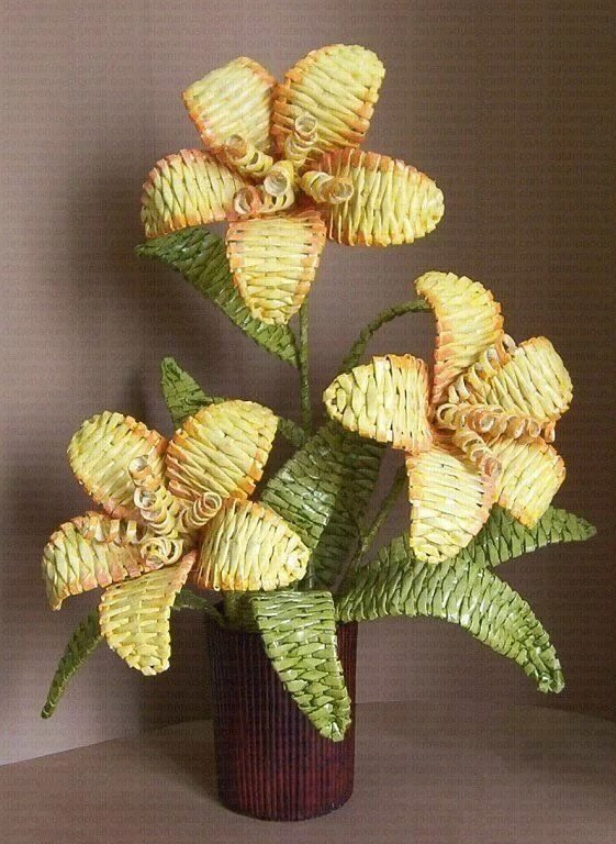 цветы из газетных трубочек картинки создания