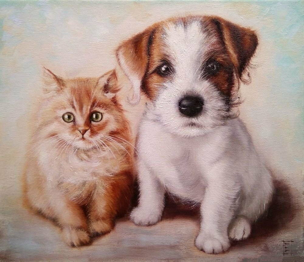 Нарисованные картинки котят и щенят