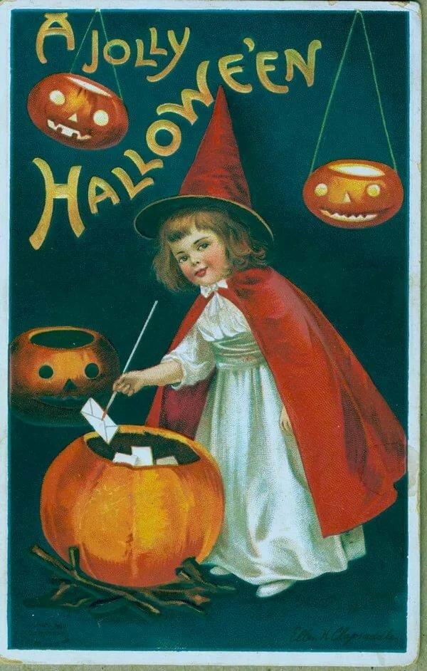 Старинные открытки к хэллоуину, картинки существа картинки