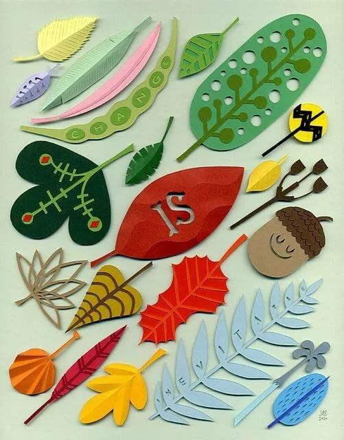 Открытки или поделки из бумаги и листьев
