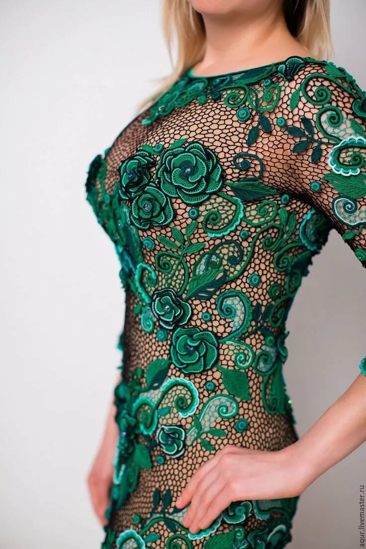 вязаное платье ирландским кружевом картинки