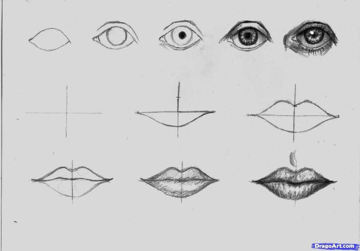 картинки карандашом губы глаза в глаза настройки позволяют