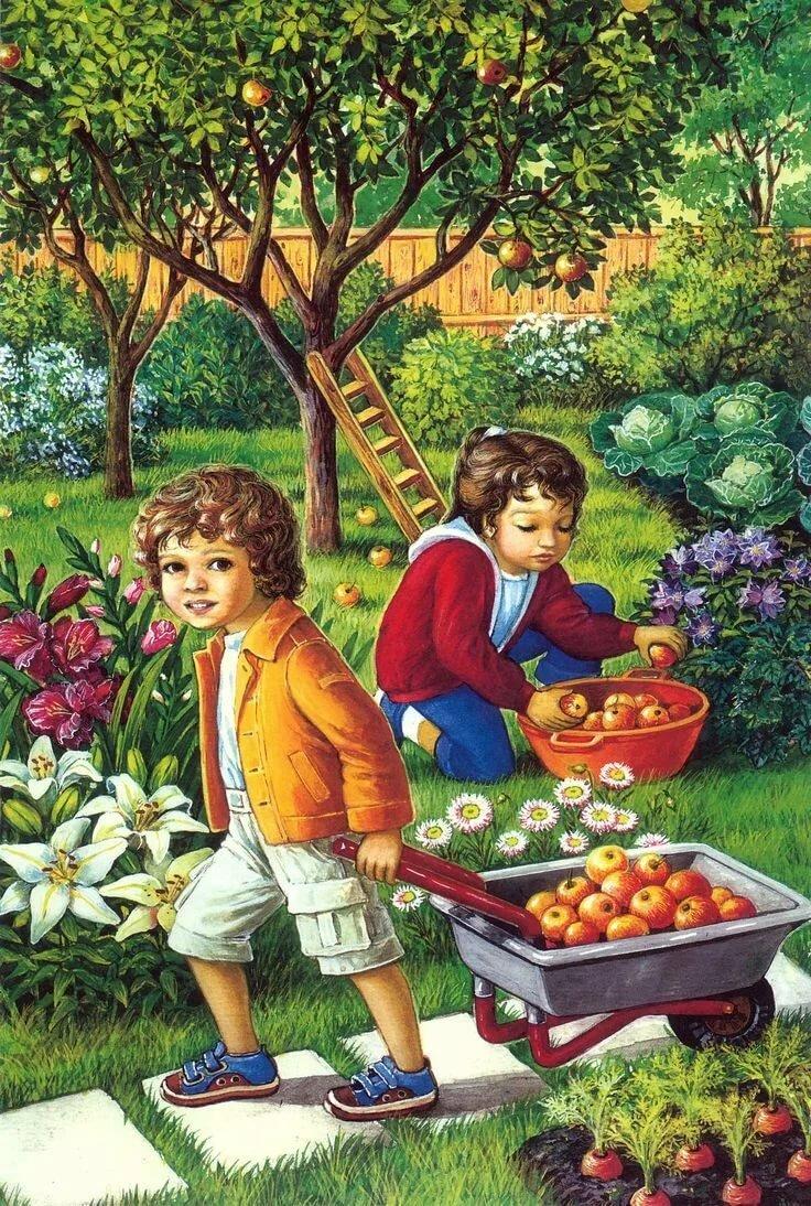 Открытки, картинки на тему фруктовый сад