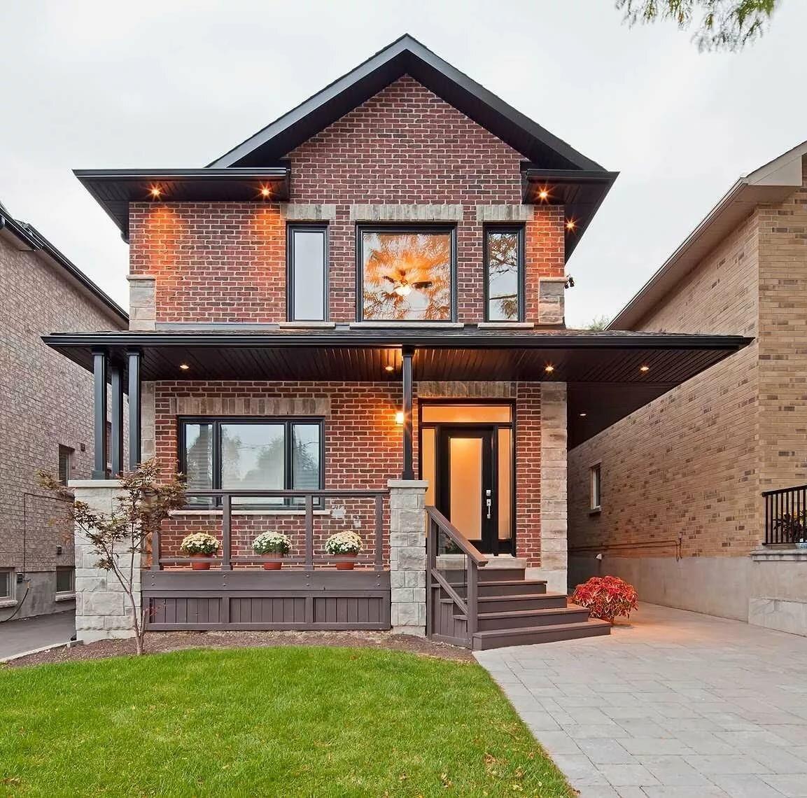 красивые строгие небольшие дома из кирпича фото
