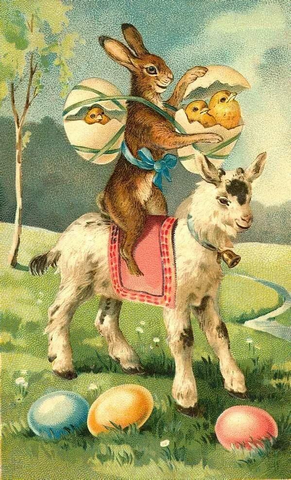 Поздравления, пасхальные ретро открытки с кроликами