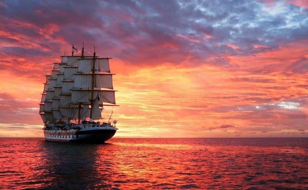 Открытка корабль