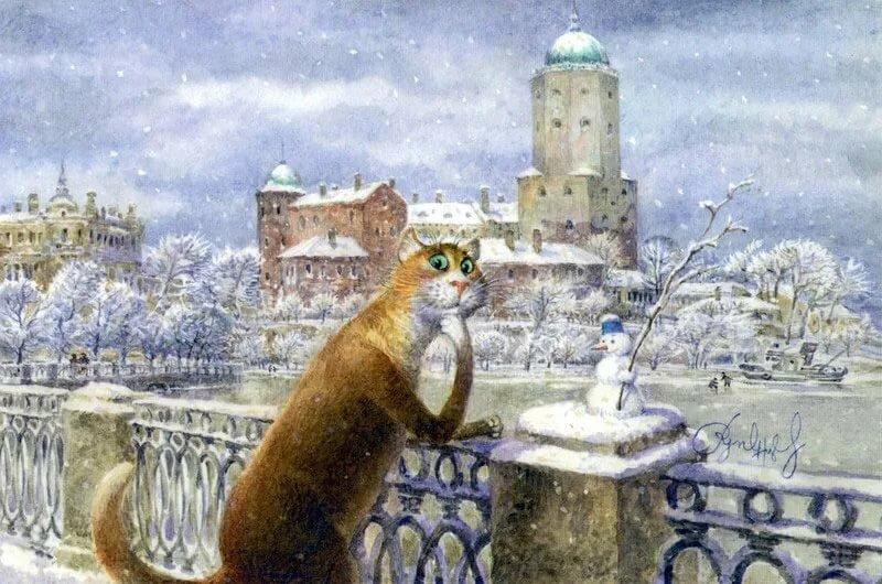 Картинки фото, открытки с питерскими котами владимира румянцева