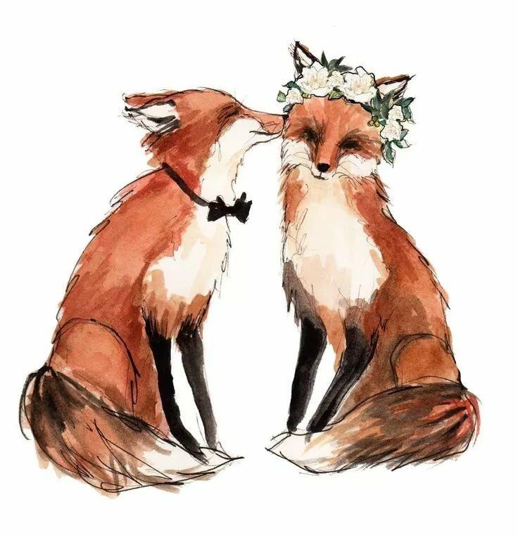 Картинка лисичка влюбленная