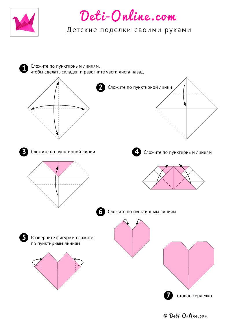 Как сделать открытку с сердечком оригами, воскресенье рисунок