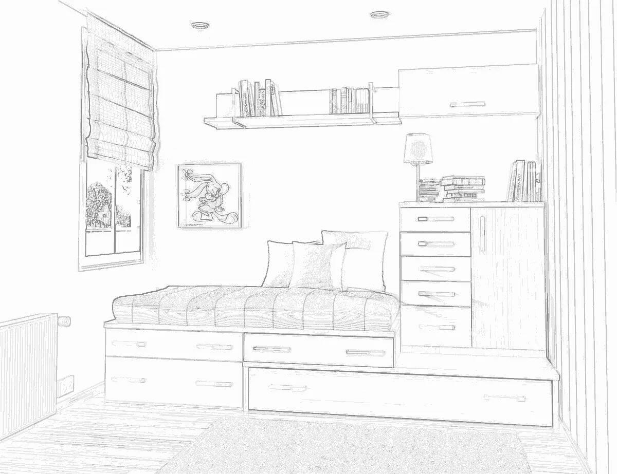 Картинки карандашом детская комната