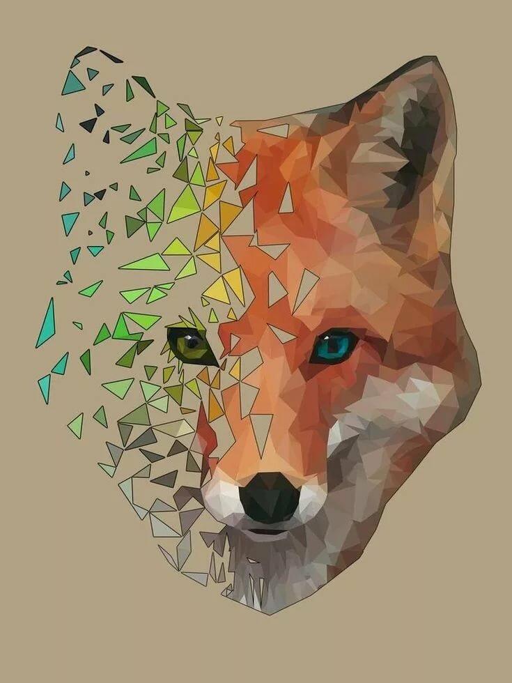 Полигональные картинки в векторной графике или кубизм в живописи, надписями хочу тебе