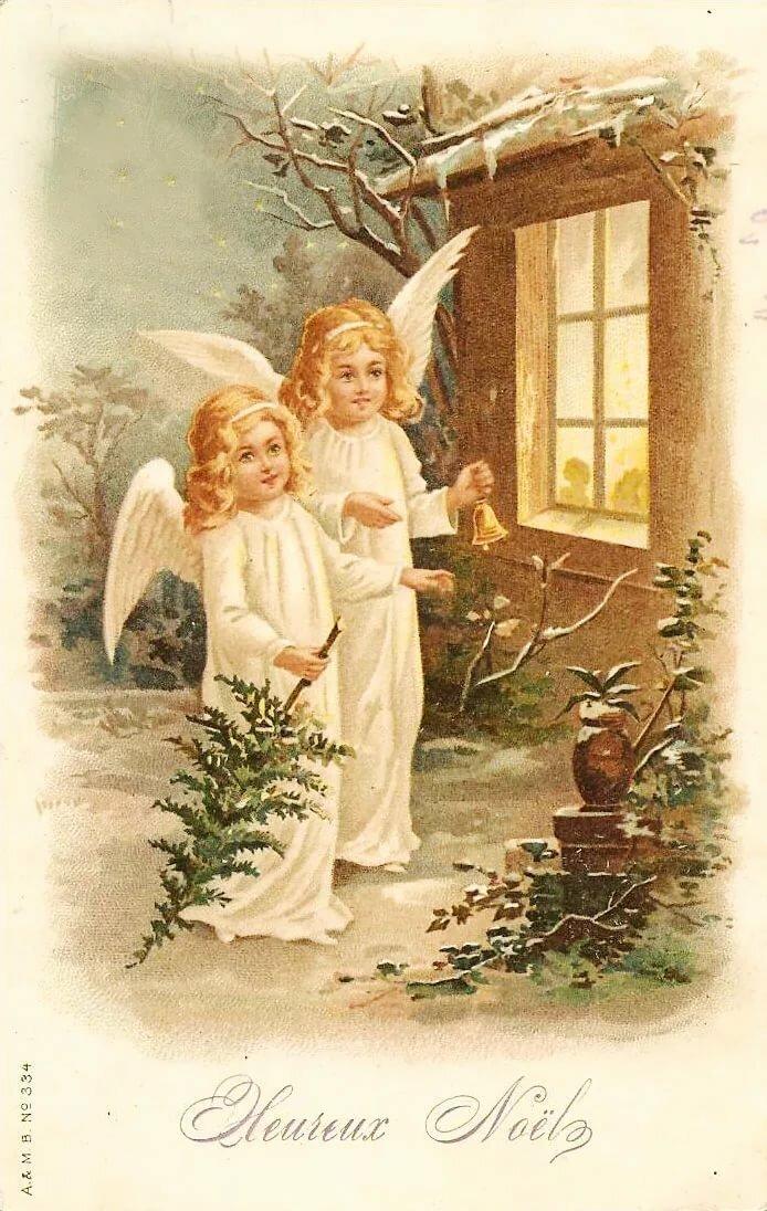 Картинках, старые рождественские открытки с ангелами