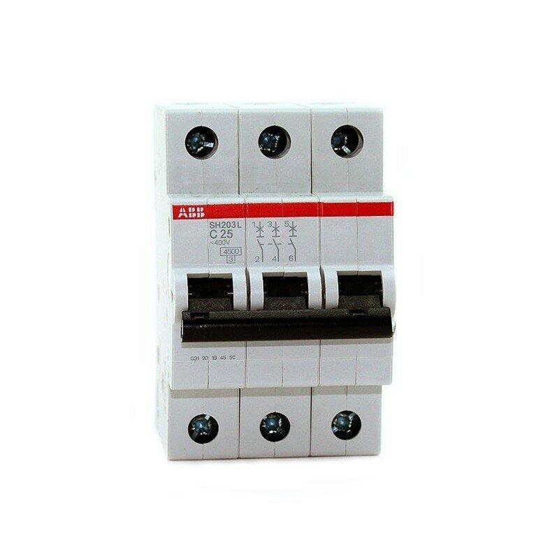 3 полюсный автоматический выключатель ABB серии SH 203 L C 25