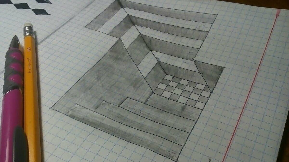 Триде рисунки для начинающих простые по клеточкам