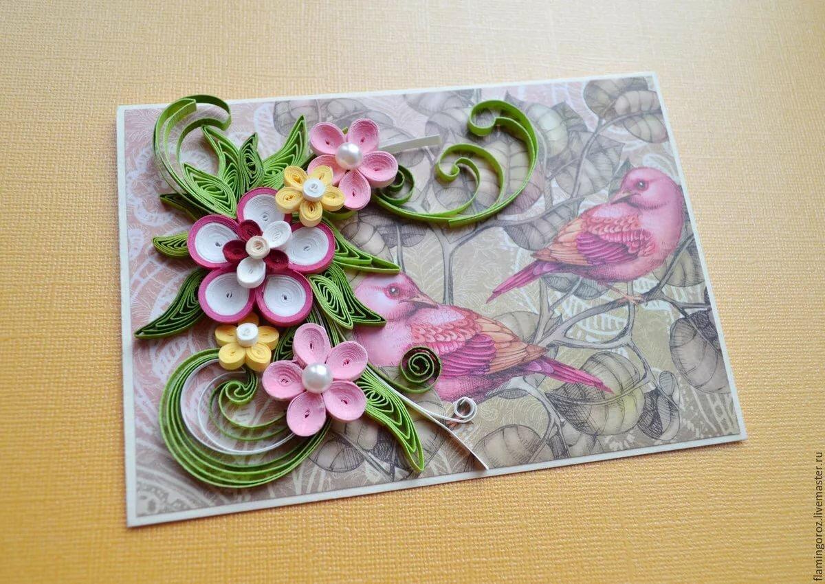Открыток, поделки из квиллинга открытка